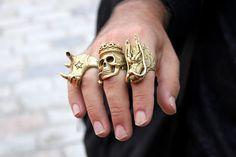 Rhino,Skull & Dragon rings.
