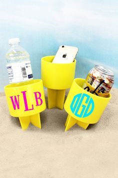 Just Spike It in the sand to keep your drink from spilling and to keep it sand free! Also great for holding your phone, music player, suntan lotion, and more to keep them off of the hot beach sand! Beach Weather, Suntan Lotion, Hot Beach, Drink Holder, Monogram Initials, Spring Break, Beverages, Lemon, Fun