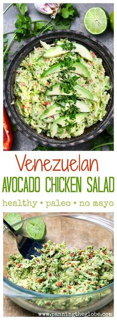 You've never had chicken salad like this! So delicious and super healthy: shredded chicken is mixed with avocado, lime juice, jalapeño, bell pepper, white onion, garlic and cilantro. There's no mayonnaise. It's  paleo, dairy-free, and bursting with vibrant Latin flavors.