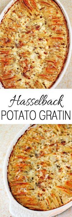Hasselback Potato Gratin #potatoes #sides #recipe #cooking #dinner