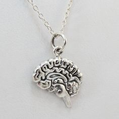 FashionJunkie4Life - Sterling Silver Brain Charm Necklace. Great for The Walking Dead Fans or zombie fans! Use coupon code PIN10 to get 10% off your entire purchase!