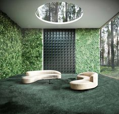 Orac Decor 3D Envelop decorative panels add a touch of geometry to this lush garden space