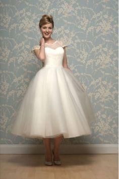 LILYANNA Calf Length 1950s Inspired Short Wedding Dress With Cap Sleeve