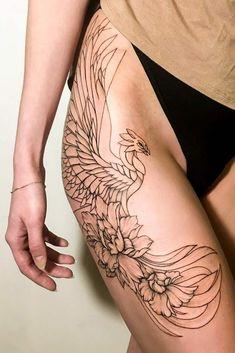 33 Amazing Phoenix Tattoo Ideas With Greater Meaning - Tattoo-ideen - Tatuajes Form Tattoo, Tattoo Line, Shape Tattoo, Tattoo Thigh, Feniks Tattoo, Dragon Thigh Tattoo, Abdomen Tattoo, Neue Tattoos, Body Art Tattoos