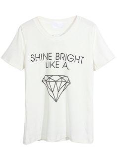 Mulheres Casual branco brilhar como um diamante carta de impressão t-shirt do tamanho em 2015 verão mais novos