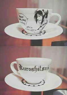 DIY Black Butler (Kuroshitsuji) Tea Cup and Saucer (Could make it into a cool tea cup candle!)