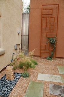 Desert Gardening - walkway to mix it up with our travertine
