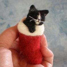 PLACE AN ORDER for an Ornament of a NeedleFelted Sleeping Kitty (11911-S)