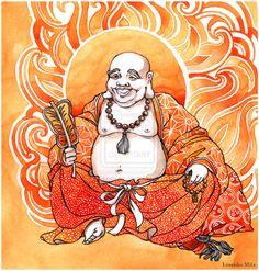 Hotei, el Buda sonriente. Dios de la felicidad y abundancia, popular deidad Budista.
