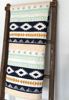 Baby Quilt, Reversible, Modern, Arizona, Art Gallery, Navy, Mint, Coral, Southwest, Crib Bedding, Baby Bedding, Children