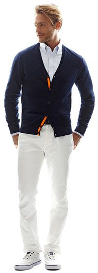 JCP Cardigan and white denim jeans. Men's Spring Summer Fashion.