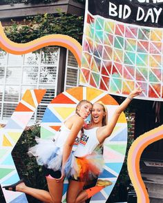Chi omega sorority Greek life go Greek home event decor friends theme bid day back to school recruitment apparel color run rainbow college