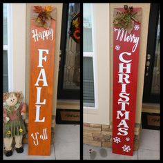 Fall & Christmas reversible front porch signs.