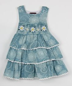Take a look at this Blue Daisy Ruffle Smocked Dress - Infant, Toddler & Girls on zulily today! Toddler Girl Dresses, Toddler Outfits, Kids Outfits, Toddler Girls, Infant Toddler, Little Girl Dresses, Girls Dresses, Dress Anak, Girl Dress Patterns