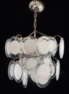 A Fused Glass and Metal Chandelier. Lot 164-1166