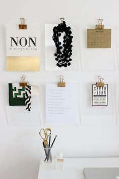 DIY gold + acrylic clipboards #diy #crafts Organisation Hacks, Place Card Holders, Diy Projects, Display, Garage, Living Room, Your Space, Interior, Wall Ideas