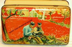 Dutch Rotterdam Van Nelle Father and Son Tobacco Tin 1920s, NEAR MINT!