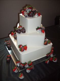 Off-set Square Wedding Cake with Chocolate covered strawberries