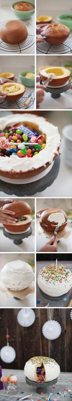 How To Make Pi\u00f1ata Cake Cake for hubby #cake #sweet