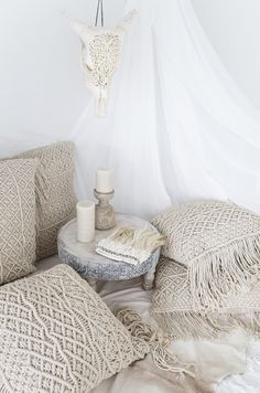 Kalyan & Indrani Macrame Cushions && Lace Horn and Lalita Feather…