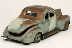 Revell scale model 1940 Ford Coupe by John Tolcher. This is an excellent example of a scale model with rust and faded paint. It's not over done and that to me is the magic of this car. I really enjoy staring at this car. Weather Models, Model Cars Building, Abandoned Cars, Abandoned Vehicles, Old Pickup Trucks, Plastic Model Cars, Custom Hot Wheels, Scale Models, Diecast