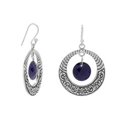 Oxidized Earrings with Corundum Drop