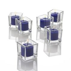Amazon.com: Set of 12 Navy Blue Richland Votive Candles and 12 Square Votive Holders: Home & Kitchen