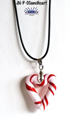 Peppermint Candy Heart #Christmas #Necklace for Women, Women Necklaces, Pendant Necklace, Handmade Necklace, Fashion Jewelry