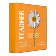 Thank You Teacher / Happy Teacher Appreciation Day / Happy Teacher Appreciation Week / Graduation Daisy Design Customizable Gift Binders for Teachers.