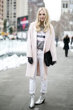 30 Ways to Look Stylish in the Dead of Winter - pink winter coat, white boyfriend jeans + silver metallic ankle boots