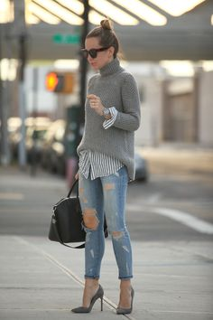 distressed denim, sweater, striped shirt