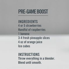 Per workout smoothie. Love this site: http://drinksmoothies.com/category/preworkout/