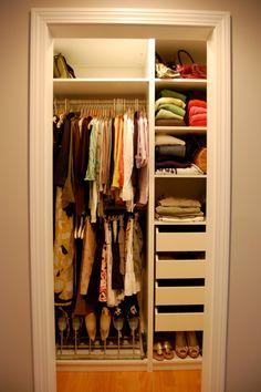 Spacious Closet Organization Ideas Using Walk In Design : Fancy Small  Closet Organization Ideas Beige Wall Paint