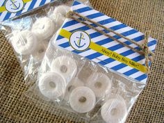 """Life Saver"" party favors at a nautical baby shower. Too clever!"