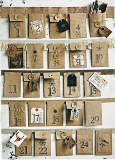 Make your own textured, rustic advent calendar with brown envelopes and sweet vintage details. A Christmas project from Australian Country Style magazine Christmas Decorations Australian, Paper Christmas Decorations, Australian Christmas, Christmas Flowers, Christmas Paper, Christmas Countdown, Christmas Projects, Christmas And New Year, Christmas Ideas