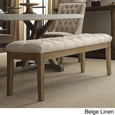 SIGNAL HILLS Benchwright Tufted Reclaimed 52-inch Upholstered 20 inches high x 17 inches deep x 52 inches wide Bench
