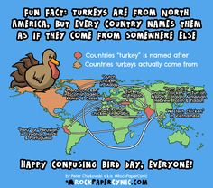 Map of Places Turkey is Named After But Doesn't Actually Come From