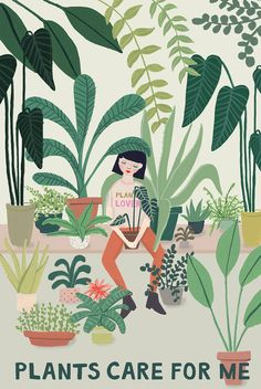Danke Pflanzen Transform your home with houseplants into a relaxation oasis. Illustration by Joëlle Wehkamp Art And Illustration, Illustration Design Graphique, Portrait Illustration, Flowers Wallpaper, Art Watercolor, Plant Aesthetic, Aesthetic Drawing, Aesthetic Green, Aesthetic Girl