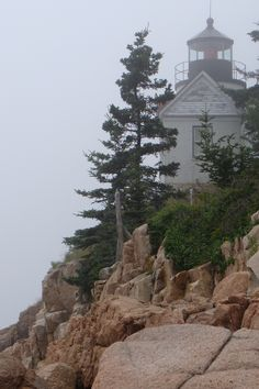 Lighthouse on the cliffs of Maine