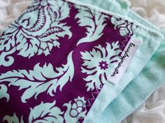 Aqua and purple damask hand dyed burp cloth