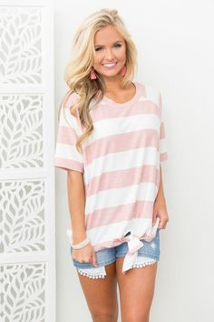 474fbb890985da Run To The Ocean Striped Blouse Pink Pink Lily