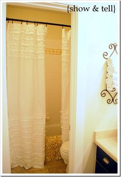 I am going to make this ruffled shower curtain... tutorial