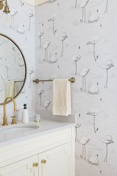 For a pop of quirky design, Steven installed flamingo wallpaper in the jewel box powder room. Flamingo Wallpaper, Bathroom Wallpaper, Grey Wallpaper, Cole And Son Wallpaper, Powder Room Design, Downstairs Toilet, Diy Bathroom Remodel, Monochrom, Amazing Bathrooms