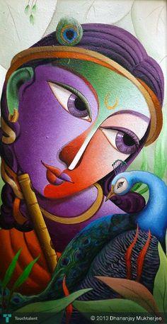 KRISHNA@16 in Painting by Dhananjay Mukherjee