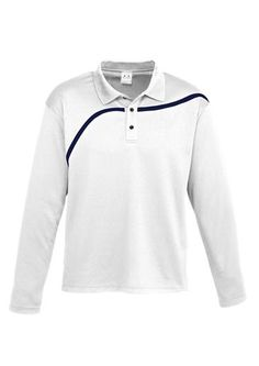 Hero long sleeve polo, 100% Breathable Polyester Mesh Knit Asymmetrical contrast chest panel 160 GSM UPF rating - Very Good