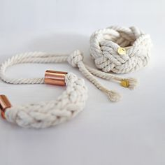 jewelry ensemble, rustic natural cotton cord bracelet and  necklace with metal tubes / adjustable lenght