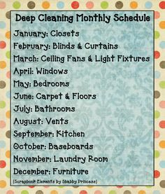 "Monthly deep cleaning schedule--but I think I would have to condense this to be quarterly and not one thing every month. I cannot imagine only ""deep cleaning"" and de-cluttering a certain part of my house once a year."