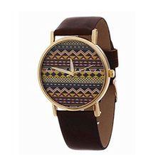 HITOP Vintage Retro Blume Damen Armbanduhr Basel-Stil Rhinestones geometrischen Streifen Leather Quarz uhr Lederarmband Uhr Top Watch - braun