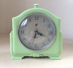 Original 1930s ART DECO Smith Sectric Mint Green Bakelite Mantel or Bedside CLOCK (for repair)