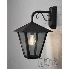 Konstsmide Benu seinävalaisin (alas, musta) Aluminium, Outdoor Lighting, Wands, Sconces, Wall Lights, 1, Home Decor, Products, Metals